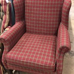 1-26459 Flexsteel Red Plaid Wing Back Chair
