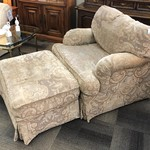 1-26924 Drexel Beige Print Chair with Ottoman