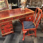 1-26995 Red Lacquer Asian Desk