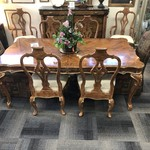 1-26970 Dining Table w/ 6 Wooden Chairs, 2 Upholstered Chairs, 2 Leaves