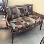 1-27582 Ethan Allen Upholstered Cane Bench