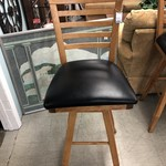 1-27499 Wooden Bar Stool w/ Black Seat (4 Available)