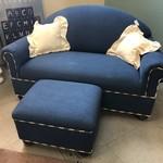 1-27429 Small Blue Sofa and Ottoman