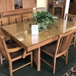 1-27674 American of Martinsville Mid Century Table, 6 Chairs, 3 Boards & Pads