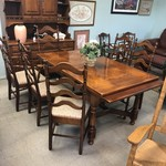 1-27215 Dining Table w/ Hidden Leaves, 6 Ladder Back Chairs