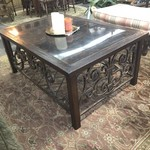 1-27661 Large Brass & Wood Coffee Table