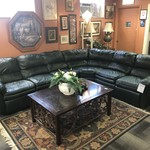 1-28122 Barcalounger Green Leather Sectional