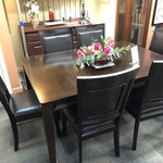 1-28166 Leather Upholstered Dining Set w/ 6 Chairs, 1 Leaf
