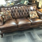 1-28280 Brown Tufted Leather Sofa