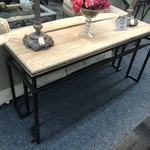 1-28168 Iron and Stone Top Console Table