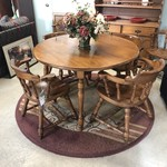 1-28649 Round Maple Dining Table w/ 6 Captain Chairs, 2 Leaves