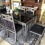 1-28648 Smoked Glass Top, Gray Metal Base Dining Table w/ 6 Black Upholstered Chairs
