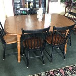1-28267 Hitchcock Table w/ 6 Chairs & 2 Leaves
