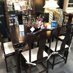 1-28717 Asian Table w/ 6 Cushioned Chairs