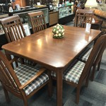 1-29736 KELLER Mission Style Dining Table w/ 6 Chairs, 2 Leaves