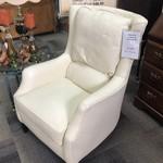 1-29983 Arhaus White Leather Arm Chair