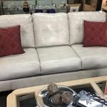 1-30038 White Leather Sofa