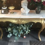 1-29899 French Provincial Marble Top Console Table
