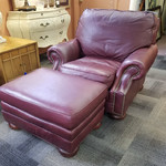1-30302 Burgundy Leather Chair and Ottoman