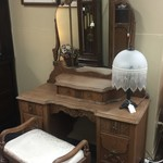 1-30353 Antique Wood Vanity And Antique Bench