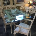 1-30449 Link Taylor Glass Top Table w/ 6 Chairs