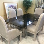 1-30567 Chrome Base, Glass Top Table w/ 6 Chairs