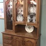 1-30613 Oak Beveled Glass Hutch