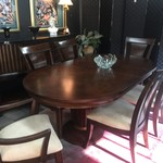 1-30452 Wood Table w/ 6 Chairs, 2 Leaves, Pads