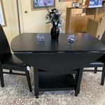 1-30699 Black Drop Leaf Table w/ 2 Chairs