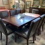 1-30783 Dark Wood Table w/ 1 Leaf, 8 Leather Chairs