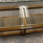 1-30768 Glass and Wood Coffee Table