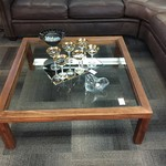 1-30555 Large Wood and Glass Coffee Table