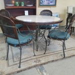 1-31307 Wood and Wrought Iron Table w/ Four Chairs