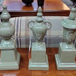 1-32197 Set Of Three Green Ceramic Decor
