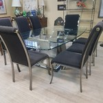 1-32315 Glass Table w/ 8 Chairs