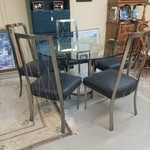 1-32296 Glass Top Table w/ 5 Chairs