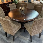 """1-32359 Arhaus Furniture 60"""" Round Pedestal Table w/ Pads and 6 Leopard Print Chairs"""