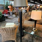 1-32297 Black Floor Lamp w/ Silver Shade