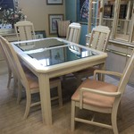 1-32634 White/Gold/Mirrored Table w/ 6 Chairs, 1 Leaf AS IS