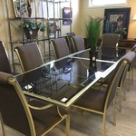 1-33023 Dining Table w/ 10 Chairs-Brass and Glass w/ Brown Fabric Chairs