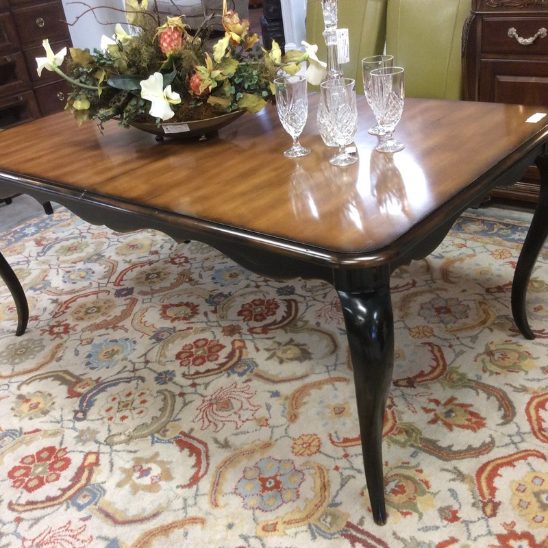 """This pretty country french, 2-tone wood, HOOKER table is in fabulous condition. It measures 6 feet long and has an additional 18"""" leaf. All you need are your chairs!!!"""