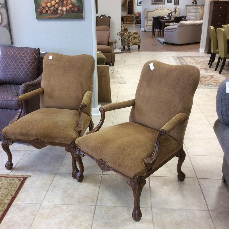 NICE!!! This is a lovely pair of upholstered armchairs, solid and sturdy with pretty detailed woodworking.