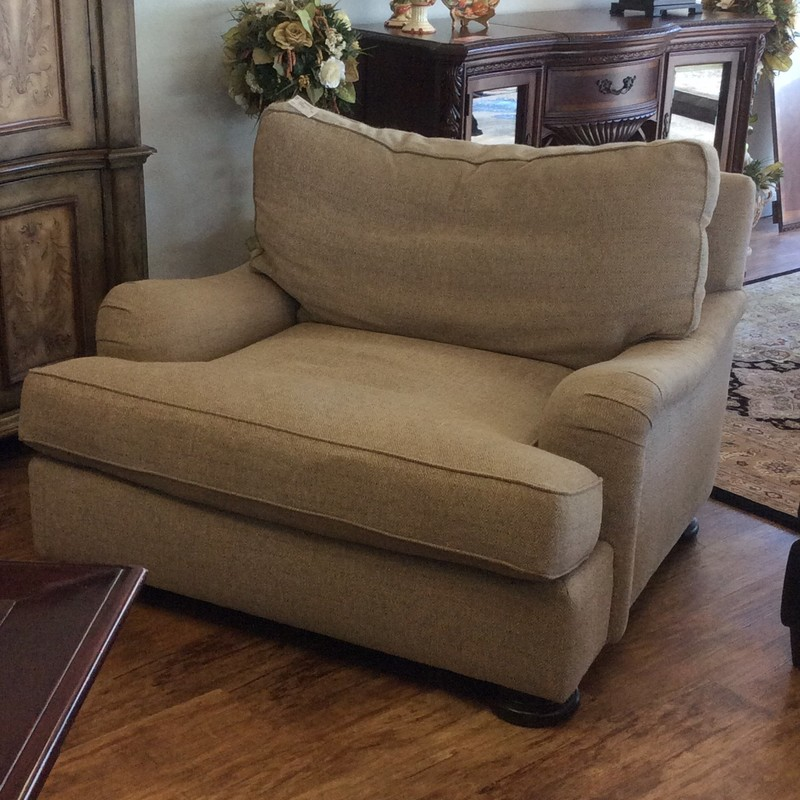 """This oversized chair by Bernhardt is lovely! It has a width of 48"""" to provide lots of comfort and room to spread out. It has been upholstered in a soft oatmeal cotton blend and has clean and simple lines. Come take a look! Perfect for that after Thanksgiving or Christmas dinner!"""