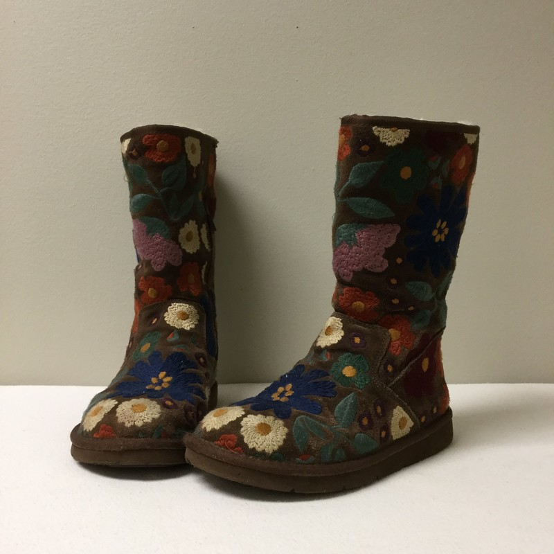 UGG Embroidered Floral Boots<br /> Size 6<br /> Tan/Multi<br /> $89.00
