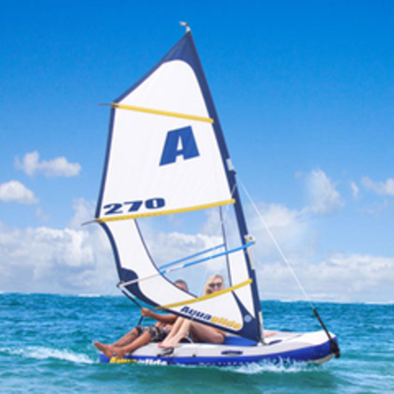 The Multisport 270 inflatable from Aquaglide combines the joy of sailing and the thrill of windsurfing in a compact package that can go just about anywhere. In just minutes, convert from windsurfer to kayak to sailboat - even a tow toy or tender! <br /> Features include:<br /> <br /> •Set up time approximately 10 minutes<br /> •Easily convert from sail to windsurfer. <br /> •Stable<br /> •Wheeled storage bag houses all components and can fit in most car trunks.<br /> •Includes roller travel bag, tiller handle, rudder, 2 keel pieces, sailing harness, main sheet/uphaul strap, mast base, foot pump, sail and sail bag, mast, boom and hull, instructions.<br /> <br /> <br /> Specifications:<br /> <br /> •Hull size: 102&quot; L x 60&quot; W x 20&quot; D<br /> •Rig size: Mast (138 inches); Boom (57 inches); Area (33 sf)<br /> •Weight capacity: 400 lbs<br /> •Windsurfing: 1 person<br /> •Sailing: 1-2 person<br /> •Tow toy: 1-2 person<br /> •Weight: 79 lbs<br /> •Boxed dimensions 62&quot; x 23&quot; x 10&quot;