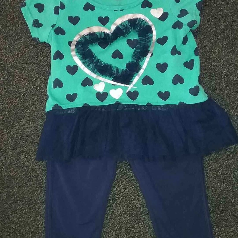 Blue and green, 2pc short sleeved shirt w/hearts w/coordinating elastic waist blue pants, Size18 months, #354652