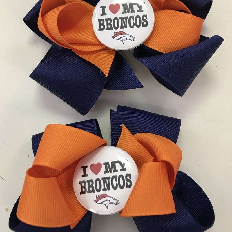 Denver Broncos Bow/barrette w/rubber backing to stay in hair easier.  Handcrafted w I love my Broncos pin. $4.99 each (2 shown in picture)