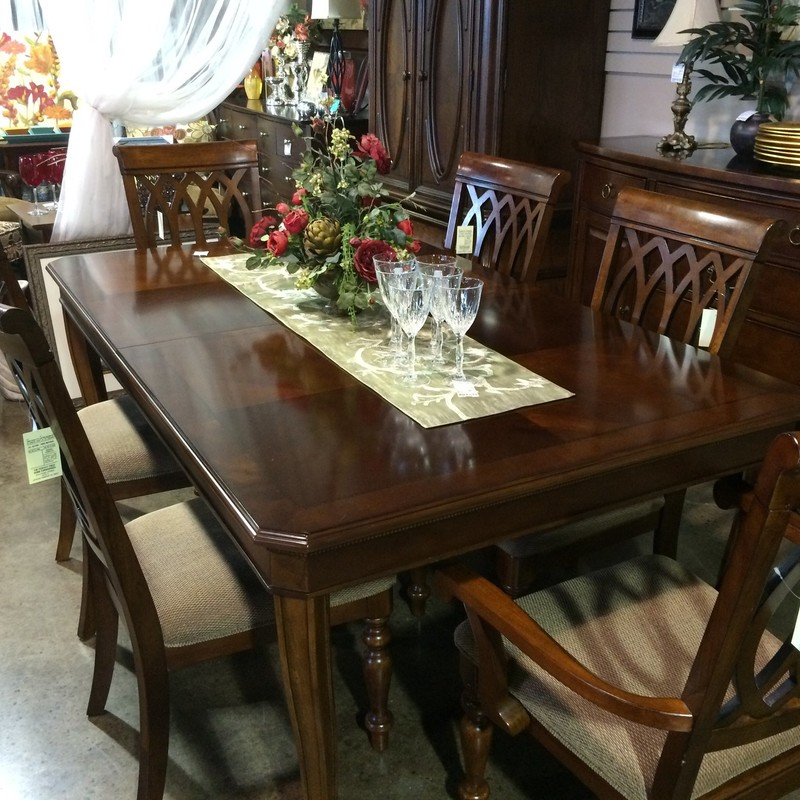 Dining Room Showroom Part - 38: Dining Room Table, 6 Chairs, 2 Leaves U0026 Custom Pads