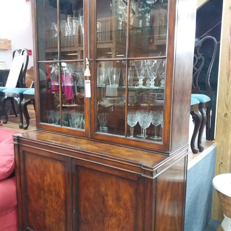 Walnut Glass Fronted Cabinet