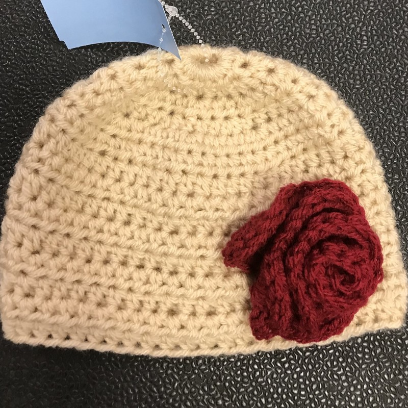 Handcrafted crocheted hat W/flower